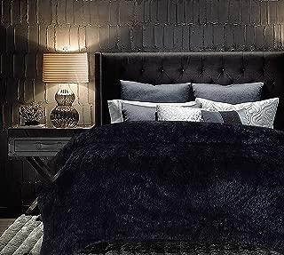 Chanasya Super Soft Shaggy Longfur Throw Blanket | Snuggly Fuzzy Faux Fur Lightweight Warm Elegant Cozy Plush Microfiber Blanket | for Couch Bed Chair Photo Props - Queen - Black