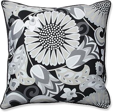 """Pillow Perfect Outdoor/Indoor Sophia Graphite Floor Pillow, 25"""" x 25"""", Black"""
