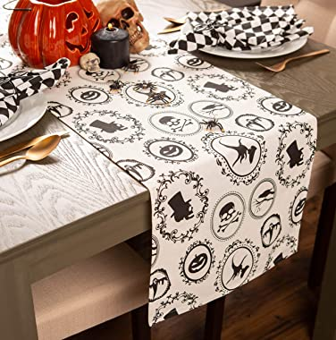 """DII 14x72"""" Cotton Table Runner, Halloween Portrait - Perfect for Halloween, Dinner Parties and Scary Movie Nights"""