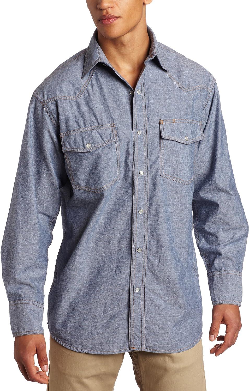 Key Industries Men's Long Sleeve Western snap pre-Washed Chambray Shirt Big/Tall