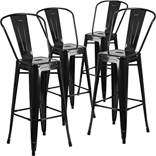 Flash Furniture 4 Pk. 30'' High Black Metal Indoor-Outdoor Barstool with Back - 4-CH-31320-30GB-BK-GG