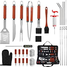 grilljoy 30PCS Heavy Duty BBQ Grill Tools Set with Thermometer and Meat Injector. Extra Thick Stainless Steel Spatula, Fork, Tongs& Cleaning Brush. Complete Grilling Accessories in Portable Bag.