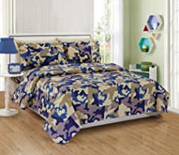Mk Collection 4pc Full Sheet Set Camouflage Army Beige Blue Taupe Off White New
