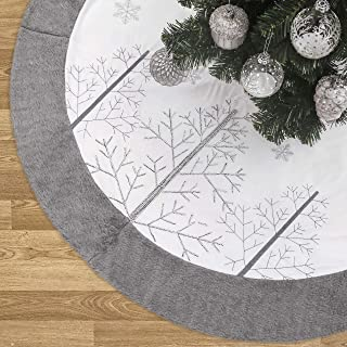 Valery Madelyn 48 inch Frozen Winter Silver White Velvet Christmas Tree Skirt with Embroidered Christmas Tree and Faux Fur, Themed with Christmas Ornaments (Not Included)