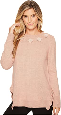 Ivanka Trump Flower Applique Ruffle Hem Sweater