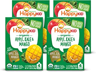 Happy Kid Organic Superfoods Twist Apple Kale Mango, 3.17 Ounce Pouch (Pack of 16) (Pack May Vary) Baby Toddler Kid Snack,...