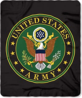 The Northwest Company United States Army Seal Fleece Blanket, Black, Green, Yellow, 50-inches by 60-inches