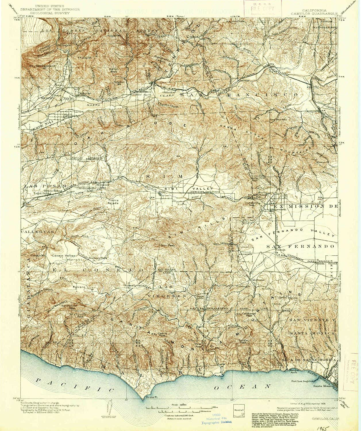 Camulos CA topo map, 1 125000 Scale, 30 X 30 Minute, Historical, 1903, Updated 1938, 19.8 x 16.5 in