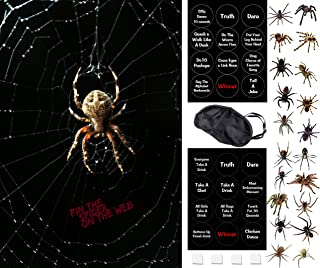 Halloween Party Games - Fun For All Ages - Pin The Spider On The Web - 2 in 1 Fun Halloween Game- Family Friendly and Drinking Game Version - Kids - Adults - Teens - Reusable