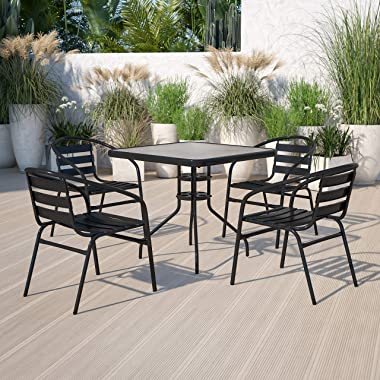 Flash Furniture 31.5'' Square Glass Metal Table with 4 Black Metal Aluminum Slat Stack Chairs