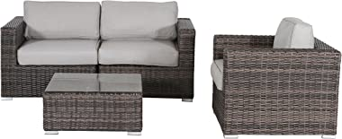 Living Source International Wicker Sofa, Outdoor Furniture Patio Sofa Couch Garden, Backyard, Porch or Pool All-Weather Wicke