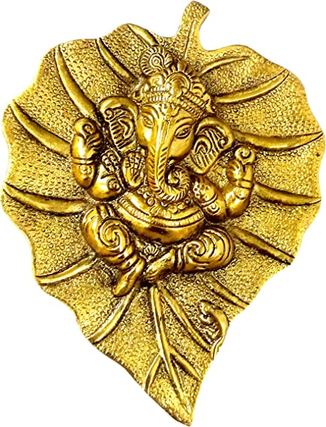 Purpledip White Metal Wall Hanging Ganesha Gold Finish Ganapathy Idol 10187A