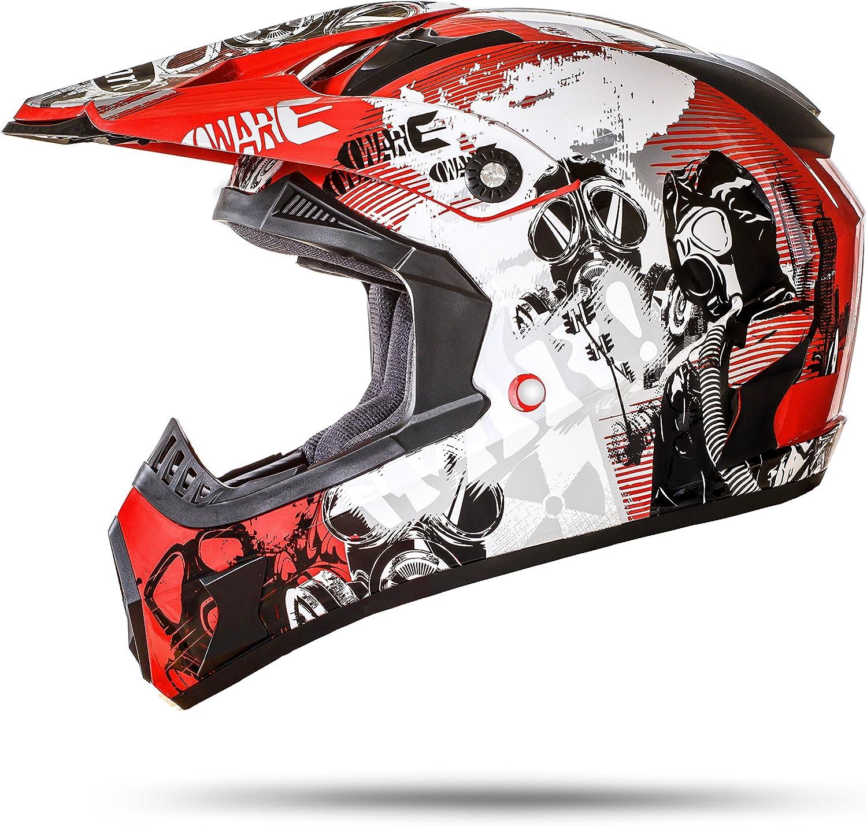 Ato Moto Gs Nevada Rot Größe M 57 58cm Motocrosshelm Motorradhelm Mit Ausziehbarer Sonnenblende Ece 2205 Auto