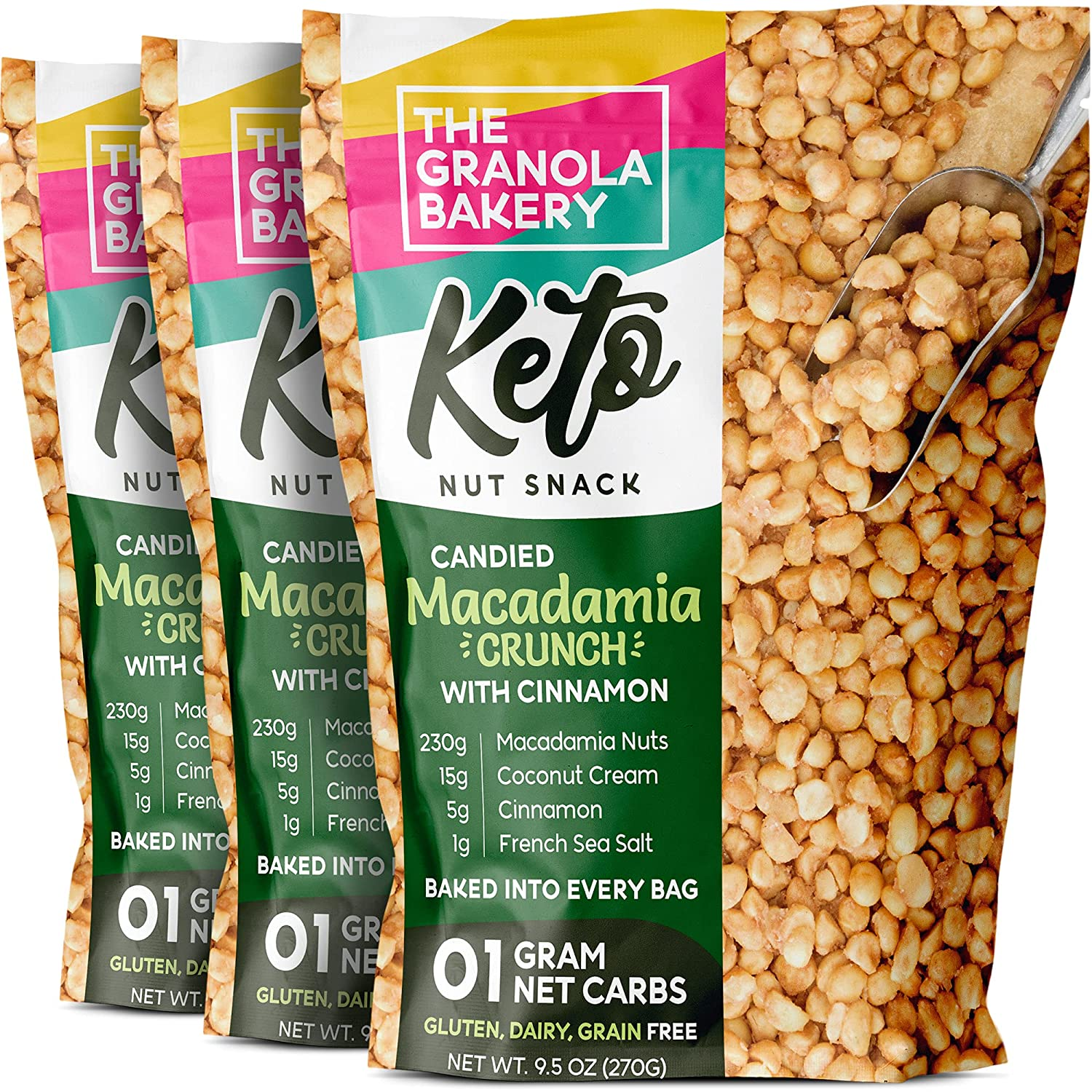 TGB Keto Candied Macadamia | 1g Net Carb | Low Carb Nut Snack | Healthy Artisanal Food, 9.5 Ounces (Pack of 3)