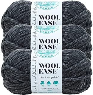 (3 Pack) Lion Brand Yarn 640-503 Wool-Ease Thick and Quick Yarn, 97 Meters, Granite