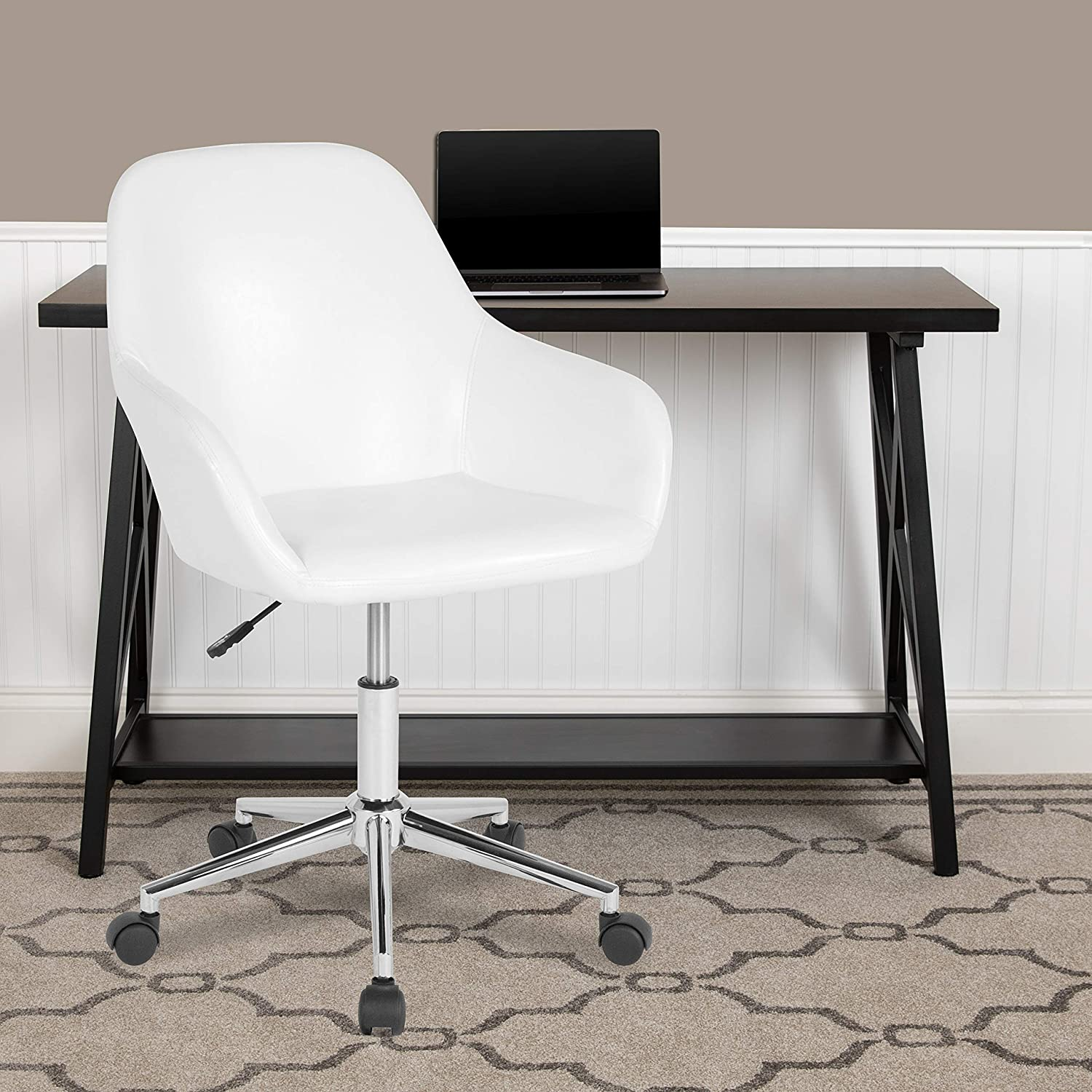 Flash shopping Furniture Cortana Home and Mid-Back Chair White in Boston Mall Office