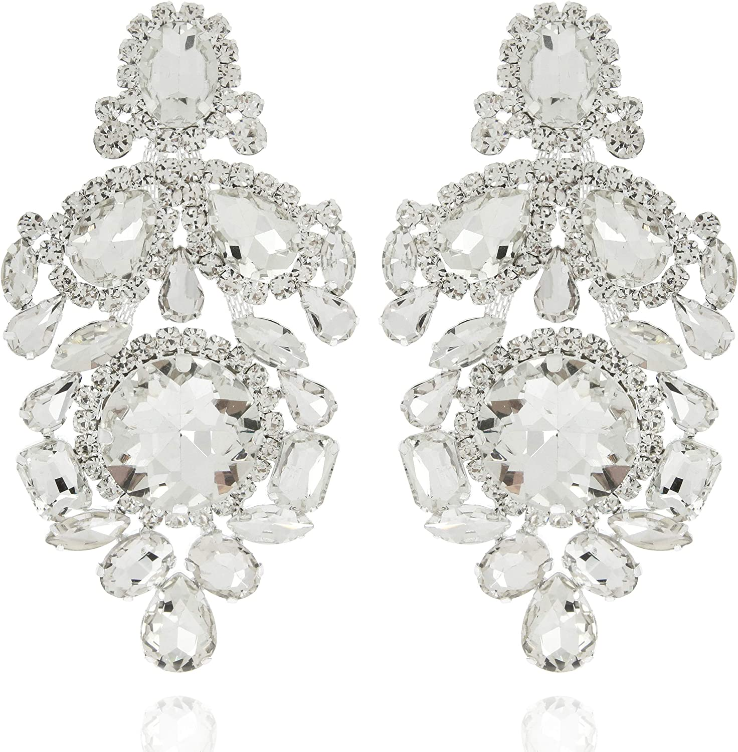 SP SOPHIA COLLECTION Women's Sparkling Statement Tiered Austrian Crystal Victorian Inspired Clip On Earrings