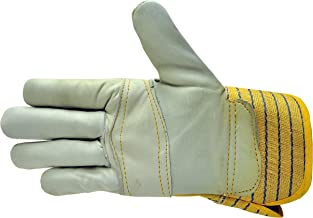 3 Pairs Premium Leather Work Gloves - Mens Work Gloves With Double Palm Cotton Back Rubberized Safety Cuff - Mens Gardenin...