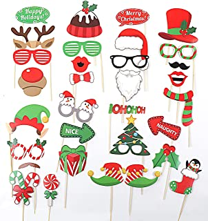 Christmas Photo Props for Photography - 32 pcs DIY Photo Booth Props Kit for Xmas and New Years Eve Party Decorations