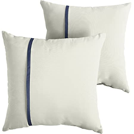 Amazon Com Mozaic Company Amps114589 Indoor Outdoor Sunbrella Square Pillows Set Of 2 16x16 Canvas Natural Ivory Canvas Navy Blue Garden Outdoor
