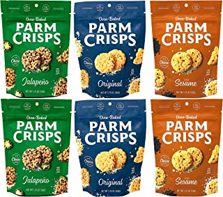 ParmCrisps Variety Pack 100% Cheese Crisps - Keto Friendly, Gluten Free, 1.75 Ounce Bag, Pack of 6