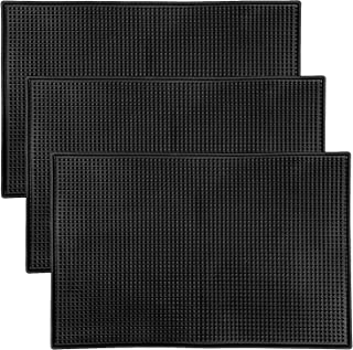 "KINJOEK 3 Packs 12"" x 18"" Rubber Bar Service Mat, Black Drink Coasters, Heavy Duty Leakproof & Non Slip Tabletop Protectio..."