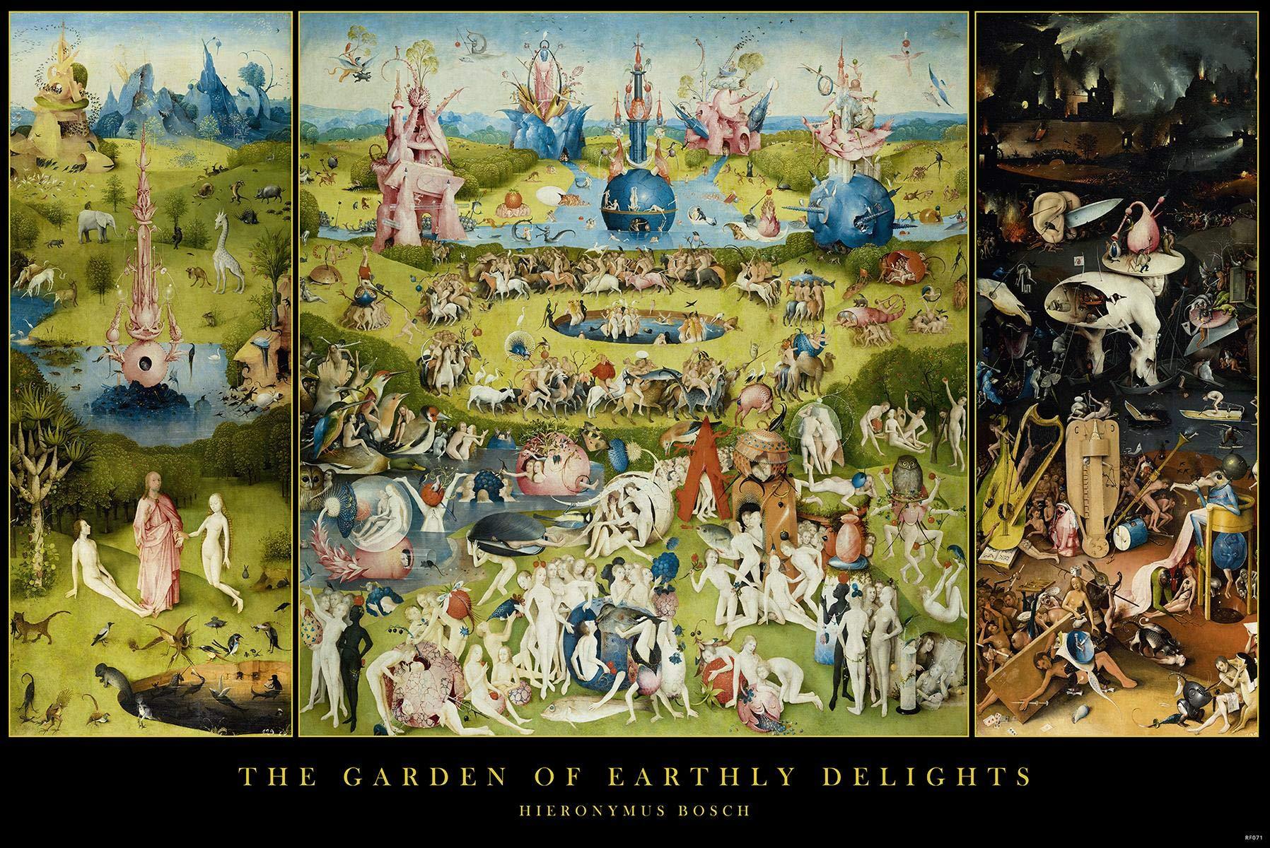 Close Up Póster Garden of Earthly Delights/El jardín de Las delicias Hieronymus Bosch (91,5cm x 61cm) + 2 Marcos Transparentes con suspención: Amazon.es: Hogar