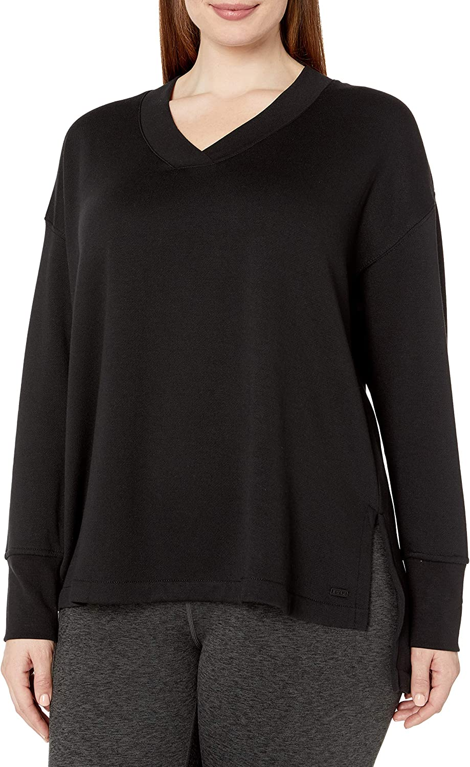 Marc New York Performance Women's Plus Size Fabulous Fleece V-Neck Pullover with Side Vents
