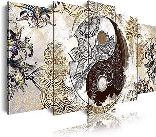 DekoArte 455 Cuadros Modernos Impresión de Imagen Artística Digitalizada, Lienzo Decorativo Para Tu Salón o Dormitorio, Estilo Ying Yang Abstractos Zen Colores Beige Marrón, 5 piezas (150x80x3cm)