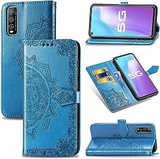 VIVO Y70Sの場合、マンダラエンボスPUレザーウォレットケース、ホルダー/カードスロット付きデュアルウェイマグネティッククロージャーケース。(Color:青い)