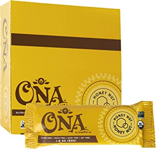 Honey Nut Bar by Ona, Paleo, Organic, Gluten Free, SCD Approved, Honey Sweetened Healthy Bars (12 Pack)