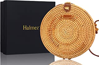 Halmez PREMIUM Rattan Bag for Women Round Handwoven Straw Bag Leather Crossbody Shoulder Strap Handbag Dream Fashion, Brown