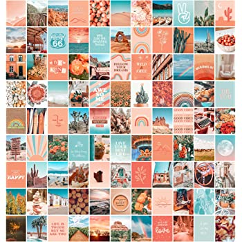 Amazon Com Artivo Peach Aesthetic Wall Collage Kit 100 Set 8x10 Inch Room Decor For Teen Girls Peachy Teal Wall Art Print Dorm Photo Collection Boho Posters For Room Aesthetic Posters Prints