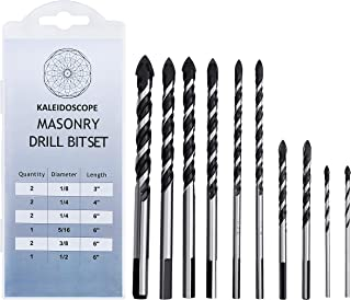 Masonry Drill Bits Set With High Bend Resistance Solid Carbide Tip Type Ideal for Drilling Building Materials (Tile, Brick, Cement, Concrete, Glass, Plastic, Cinder Block, Wood) Hardened Steel Body