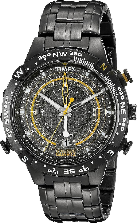 Timex Men's T2P139 Grey Stainless Steel Intelligent Quartz Tide Temperature Compass Watch