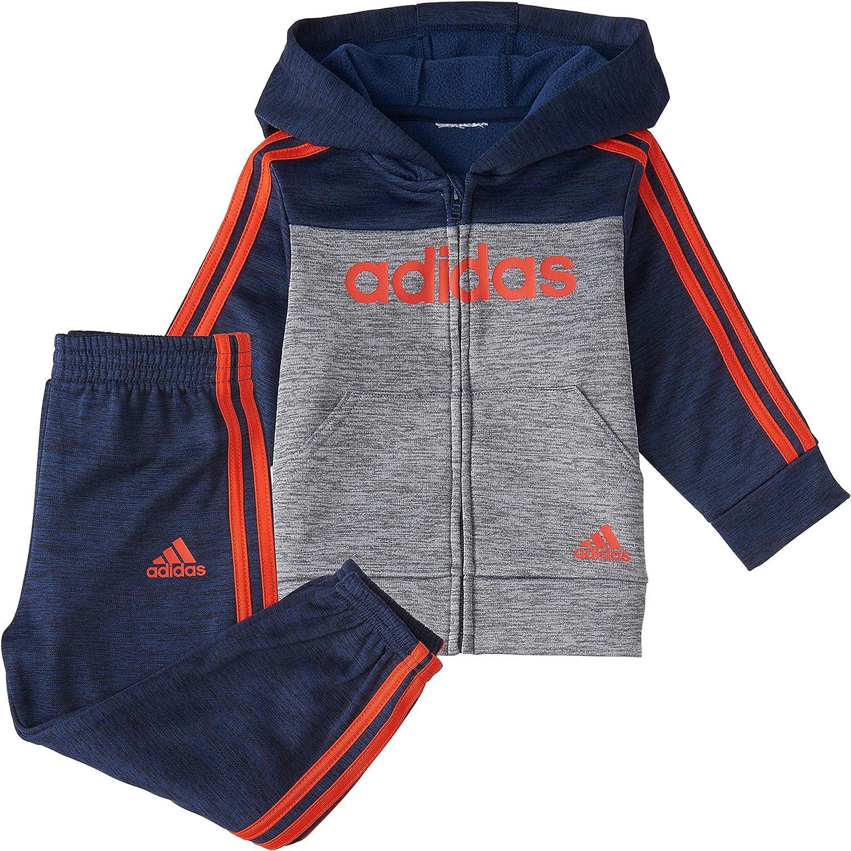 adidas baby-boys Li'l Sport Zip Front Hoodie & Sweatpants Clothing Set