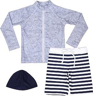 【Asbrio】水着 男の子 UPF50+ ボーダー柄パンツ グレーラッシュガード 帽子 90〜140cm (110)