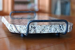Handmade Reclaimed Granite Cheeseboard with Rough Chiseled Edge and Handforged Metal Handles, 12