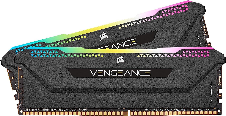CORSAIR Vengeance RGB Pro SL 32GB (2x16GB) DDR4 3600 (PC4-28800) C18 1.35V Módulos de Memoria de Alto Rendimiento Optimizados para AMD Ryzen - Negro