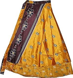 Megamart Womens Sari 2 Layer Magic Wrap Skirt Golden Yellow Silk Long Wrap Around Skirts Boho Beach Dress