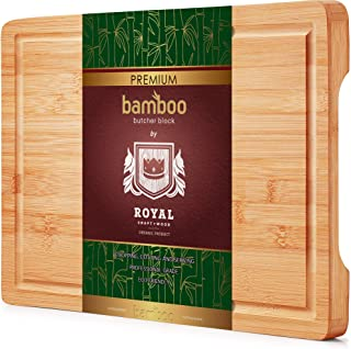 Organic Bamboo Cutting Board with Juice Groove – Best Kitchen Chopping Board for..