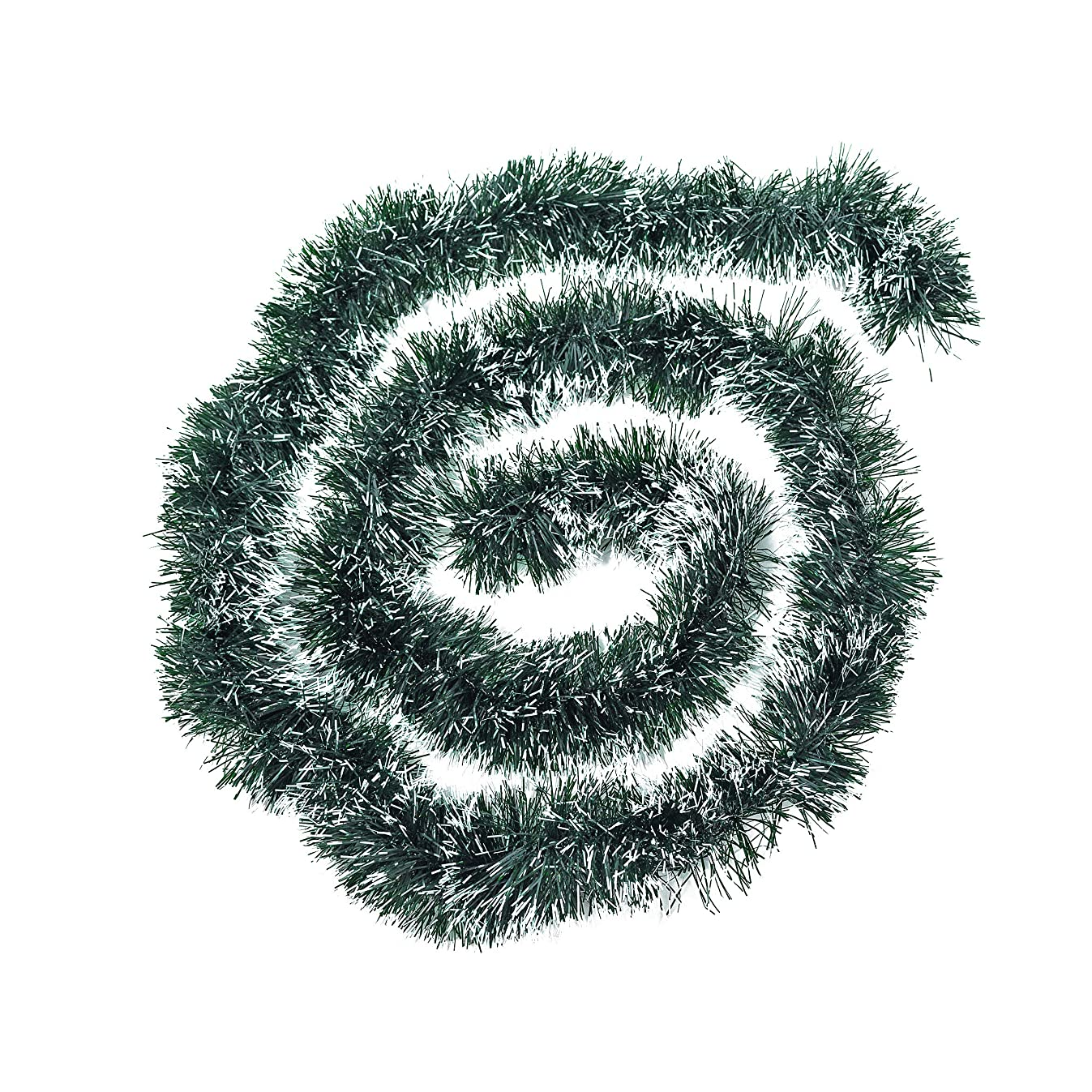 Xena 2 Piece Snowy White Tips Green Long Holiday Christmas Decoration Artificial Non-Lit Tinsel Garland Wedding Accessories 16 Feet Party Supplies Faux Tree Wreath DIY