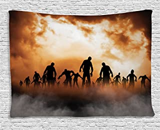 Ambesonne Halloween Tapestry, Zombies Dead Men Walking Body in The Doom Mist at Night Sky Haunted Theme Print, Wide Wall Hanging for Bedroom Living Room Dorm, 60