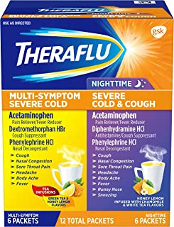 Theraflu Multi-Symptom Severe Cold and Theraflu Nighttime Severe Cold and Cough Hot Liquid Powder Combo Pac...