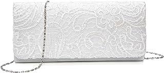 KISSCHIC Damen Elegant Spitze Abendtasche Party Clutches Weiß Taschen Braut Hochzeit Handtaschen Damen