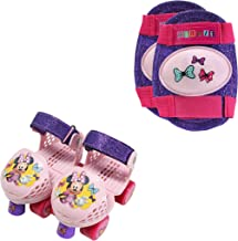 PlayWheels Minnie Mouse Kids Glitter Roller Skates with Knee Pads - Childrens Adjustable Skates - Junior Size 6-12