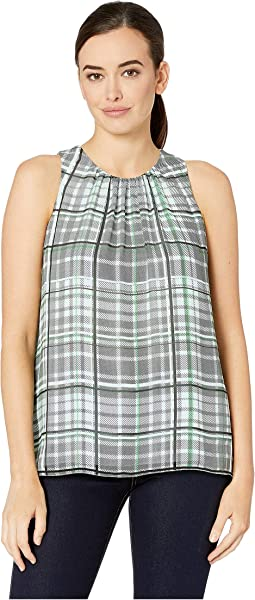 Sleeveless Plaid Shades Blouse
