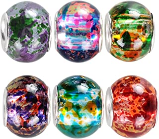 RUBYCA 50 Pcs Bulk Surreal Colors Murano Glass Beads Fit European Charm Bracelet for Jewelry Making