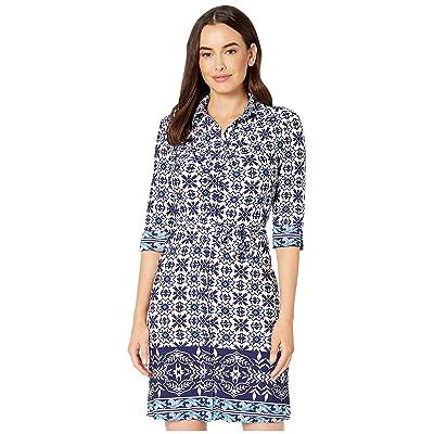 Laundry by Shelli Segal 3/4 Sleeve Wrap Dress (Blue/Navy) Women