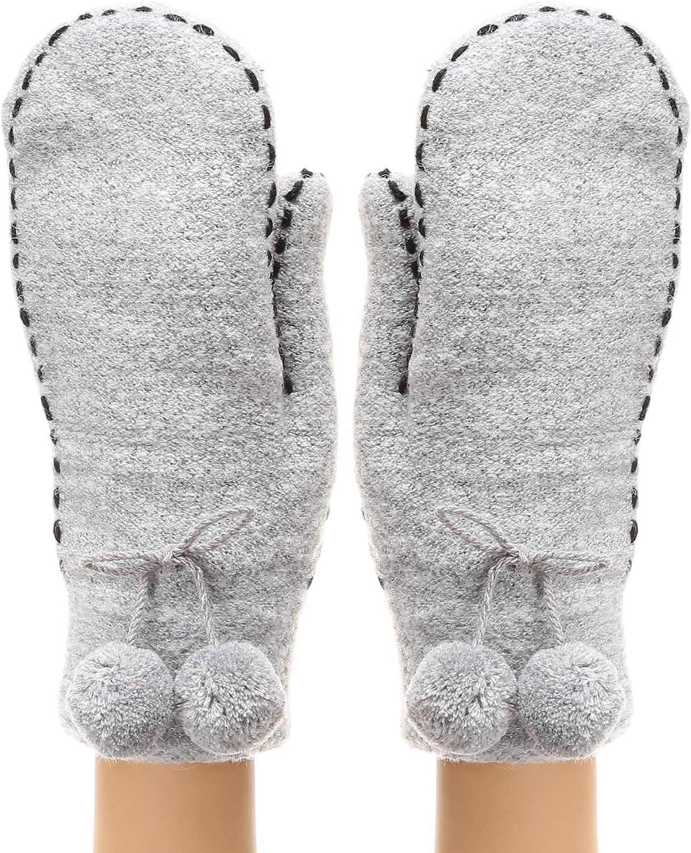 MIRMARU Women's Soft Cozy Warm Thick Stitch Solid Knit Cute Pom-Pom Charm Mittens with Soft plush Lining